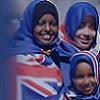 Young women wearing Australian flag